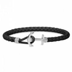 Bracelet Acier cuir noir